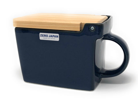 Zero Japan Ceramic Salt Box with wooden lid - Jeans Blue -