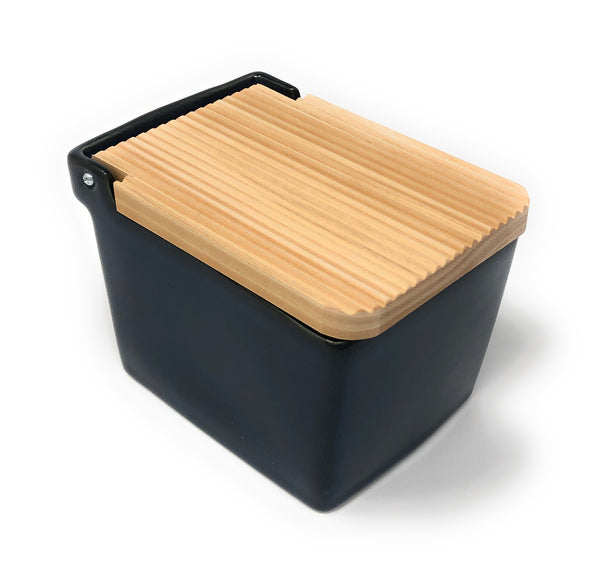 Ceramic Salt Box with wooden lid - 10 Jeans Blue -