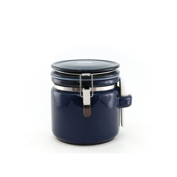 Round canister M with ceramic spoon / Jeans Blue