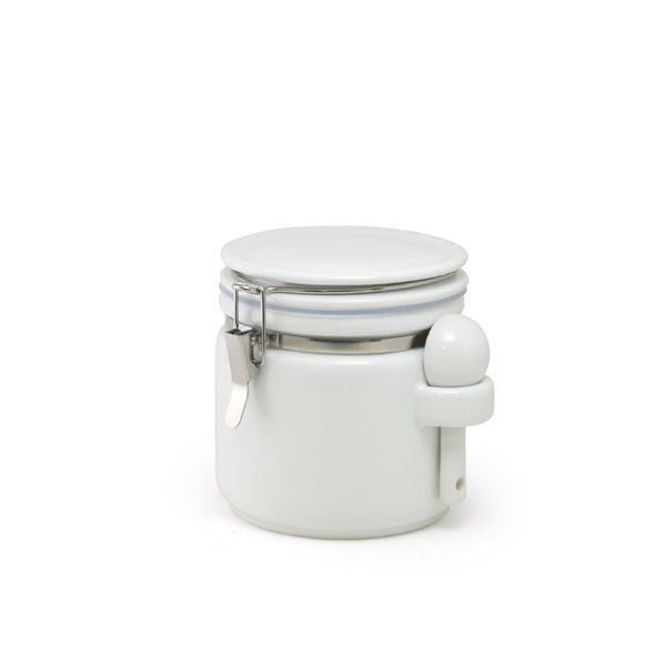 Round canister M with a ceramic spoon / White