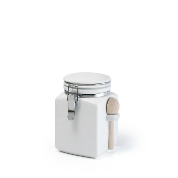 Square canister S with wooden spoon / White