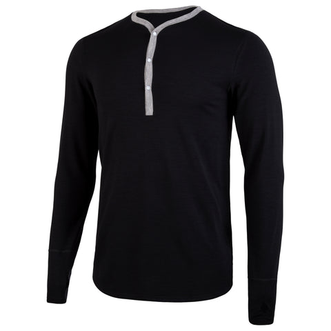 Premium Merino Wool: Black/Heather Long Sleeve Henley