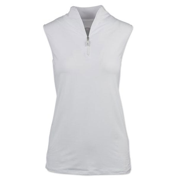 White, Medium Tailored Sportsman Ladies Icefil Sleeveless Sun Shirt