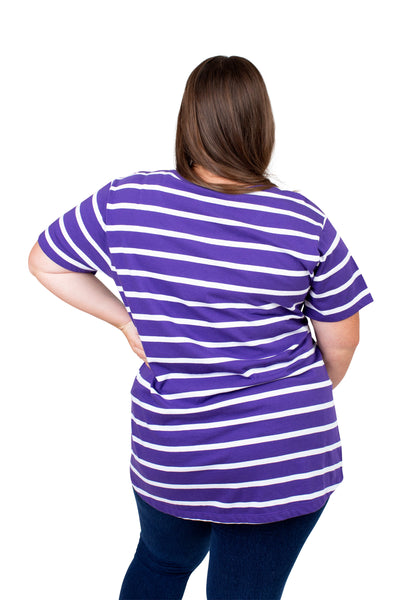 Plus Size LSU Tigers Striped Sweet Tee