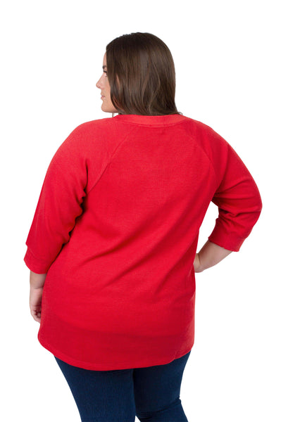 Red Plus Size Waffle Henley Top