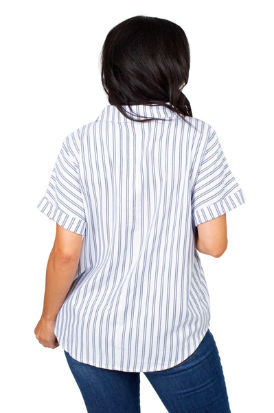 Short Sleeve Auburn Tigers Striped Blouse
