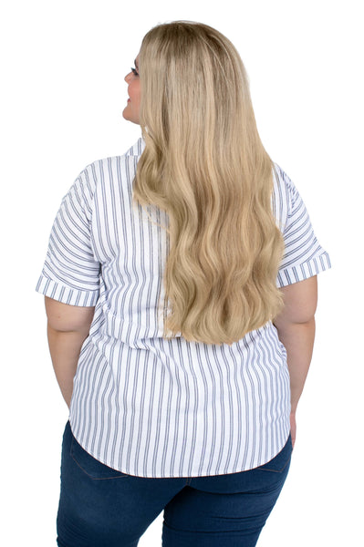 Plus Size Short Sleeve Penn State Striped Blouse