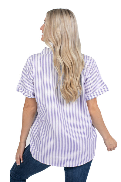 Short Sleeve Clemson Tigers Striped Blouse