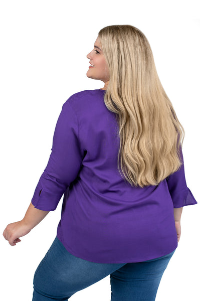 Plus Size LSU Tigers Purple Flutter Sleeve Top