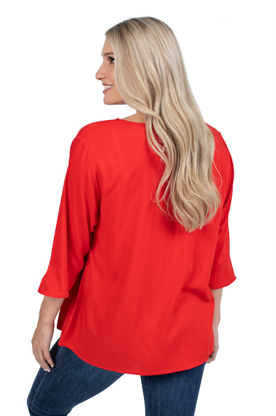 Texas Tech Flutter Sleeve Top