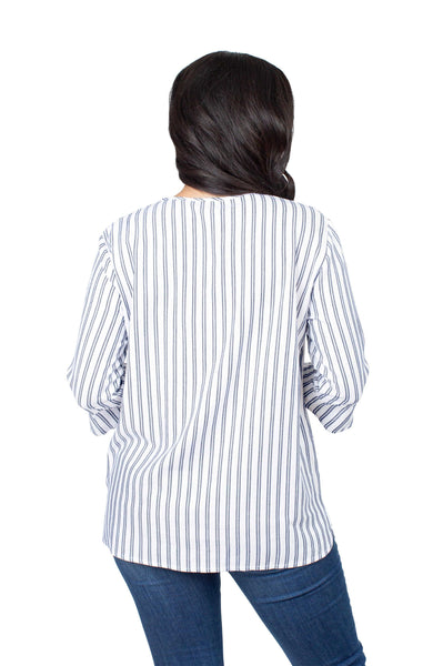 WVU Mountaineers Striped Blouse