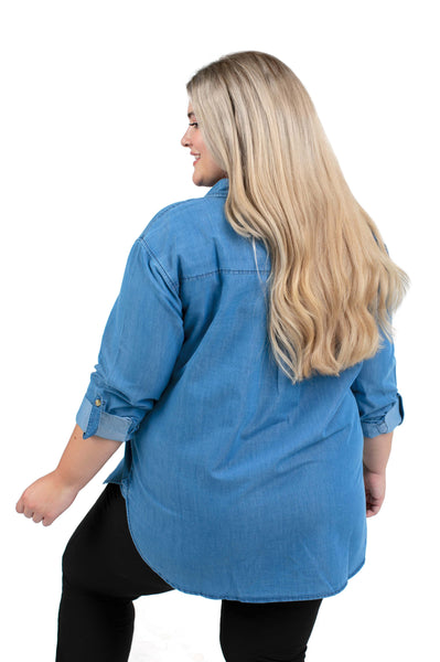 Plus Size Mississippi State Perfect Denim Shirt