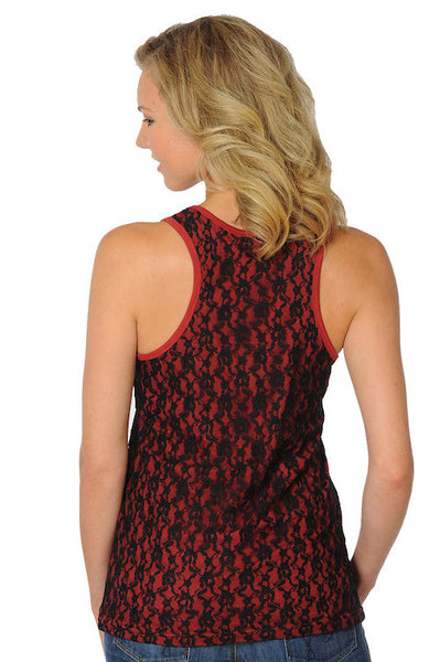 Garnet and Black Lace Tank Top