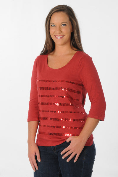 Garnet Sequin Striped Top