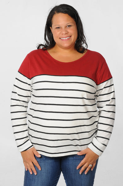 Garnet Gameday Plus Size Boat Neck Striped Top