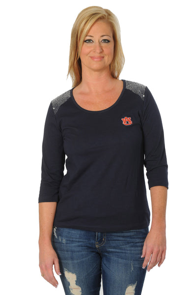 Auburn Tigers Sequins Shoulder Top