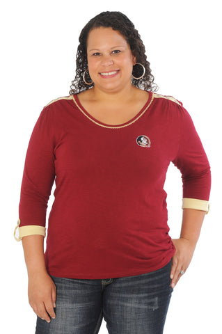 Florida State University Plus Size Roll-Up Sleeve Top