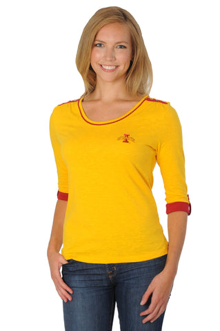 Iowa State University Roll-Up Sleeve Top