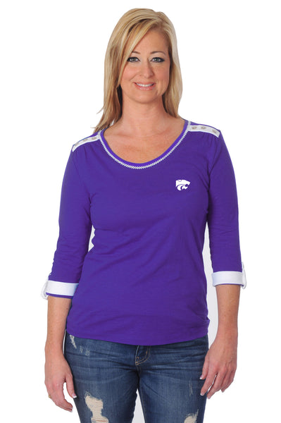 Kansas State University Roll-Up Sleeve Top