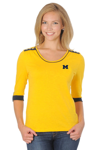 Michigan Wolverines Roll-Up Sleeve Top