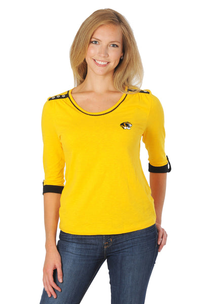 Missouri Tigers Roll-Up Sleeve Top