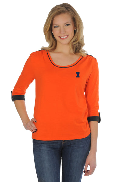 Illinois Fighting Illini Roll-Up Sleeve Top