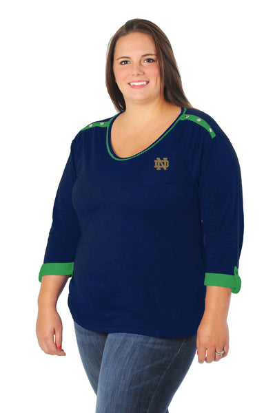 Plus Size Notre Dame Fighting Irish Roll-Up Sleeve Top