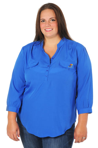 University of Kansas Plus Size Button Down Tunic