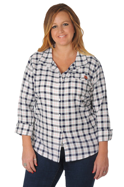 Plus Size Auburn Tigers Boyfriend Plaid Shirt