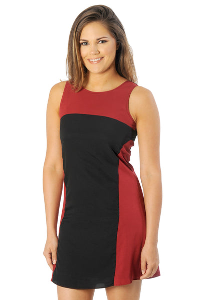 Garnet and Black Colorblock Tank Dress