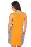 Grey and Light Orange Colorblock Tank Dress
