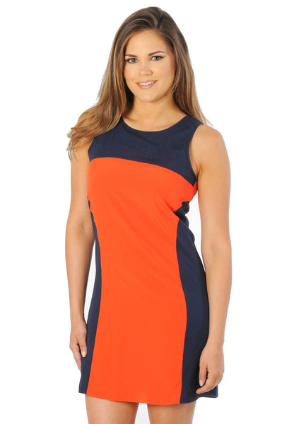 Navy and orange auburn dress