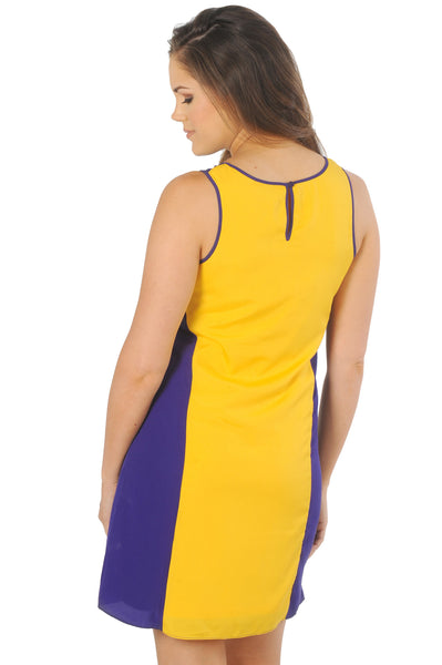 Purple and Gold Colorblock Tank Dress