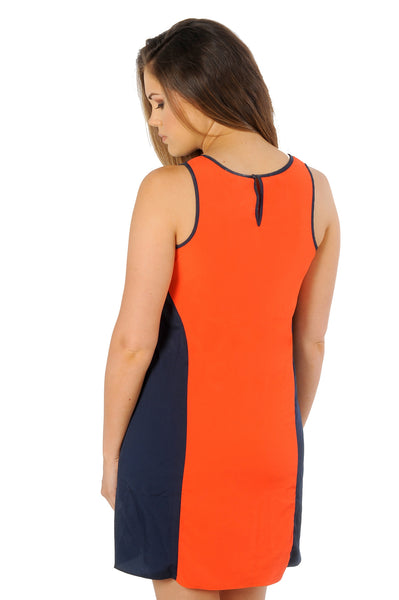 Navy and Orange Colorblock Tank Dress