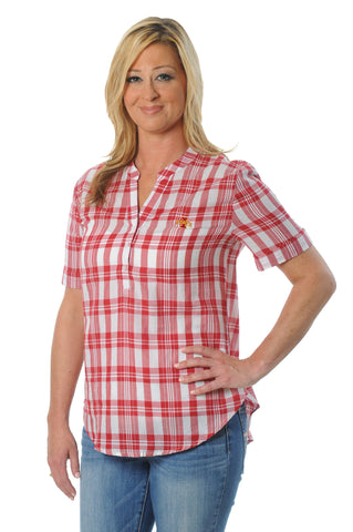Iowa State Cyclones Short Sleeve Plaid