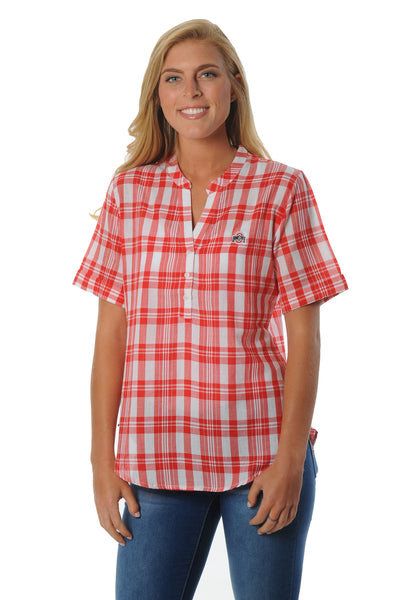 Ohio State Buckeyes Short Sleeve Plaid