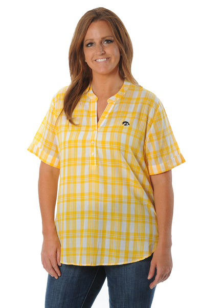 Plus Size Iowa Hawkeyes Short Sleeve Plaid