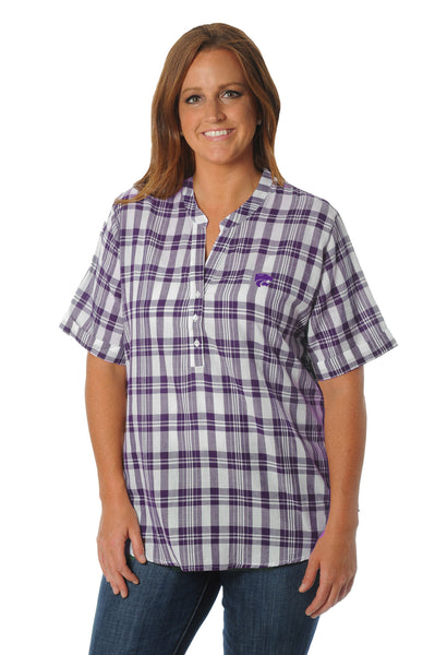 Plus Size Kansas State Wildcats Short Sleeve Plaid