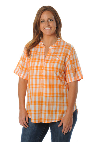 Plus Size Tennessee Volunteers Short Sleeve Plaid