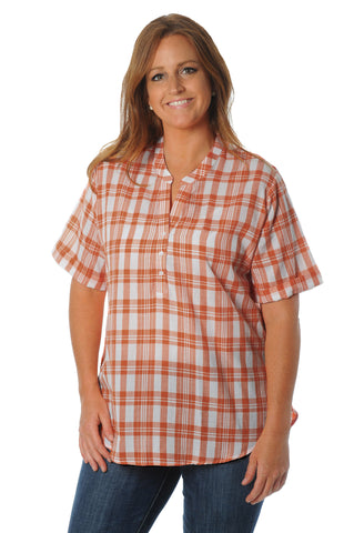 Plus Size Burnt Orange Short Sleeve Plaid