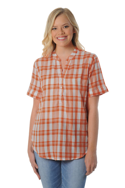 Burnt Orange Short Sleeve Plaid