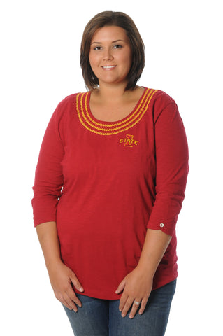 Plus Size Iowa State Cyclones Open Stitch Top