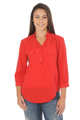 Scarlet Red Button Down Tunic