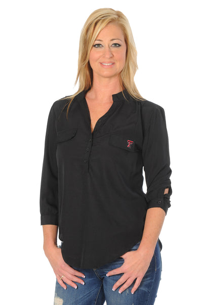 Texas Tech Black Button Down Tunic