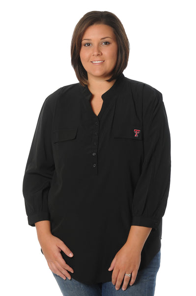 Plus Size Texas Tech Black Button Down Tunic
