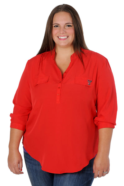 Plus Size Texas Tech Red Button Down Tunic
