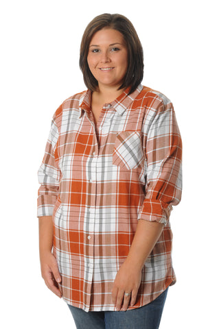 Plus Size Burnt Orange Boyfriend Plaid Top