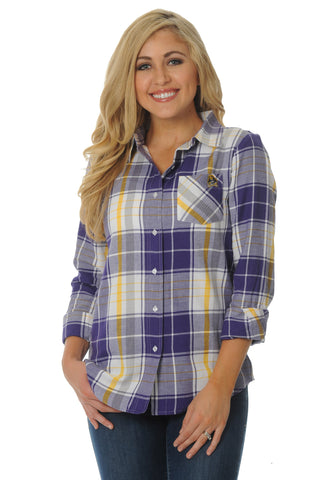 East Carolina Pirates Boyfriend Plaid Top