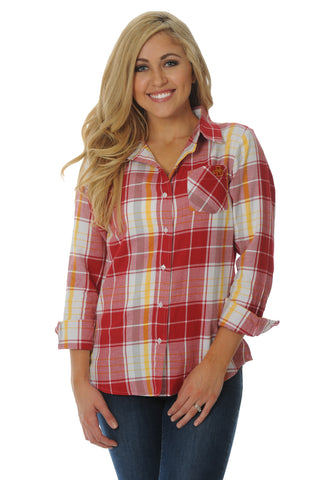 Iowa State Cyclones Boyfriend Plaid Top