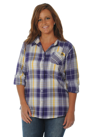 Plus Size East Carolina Pirates Boyfriend Plaid Top